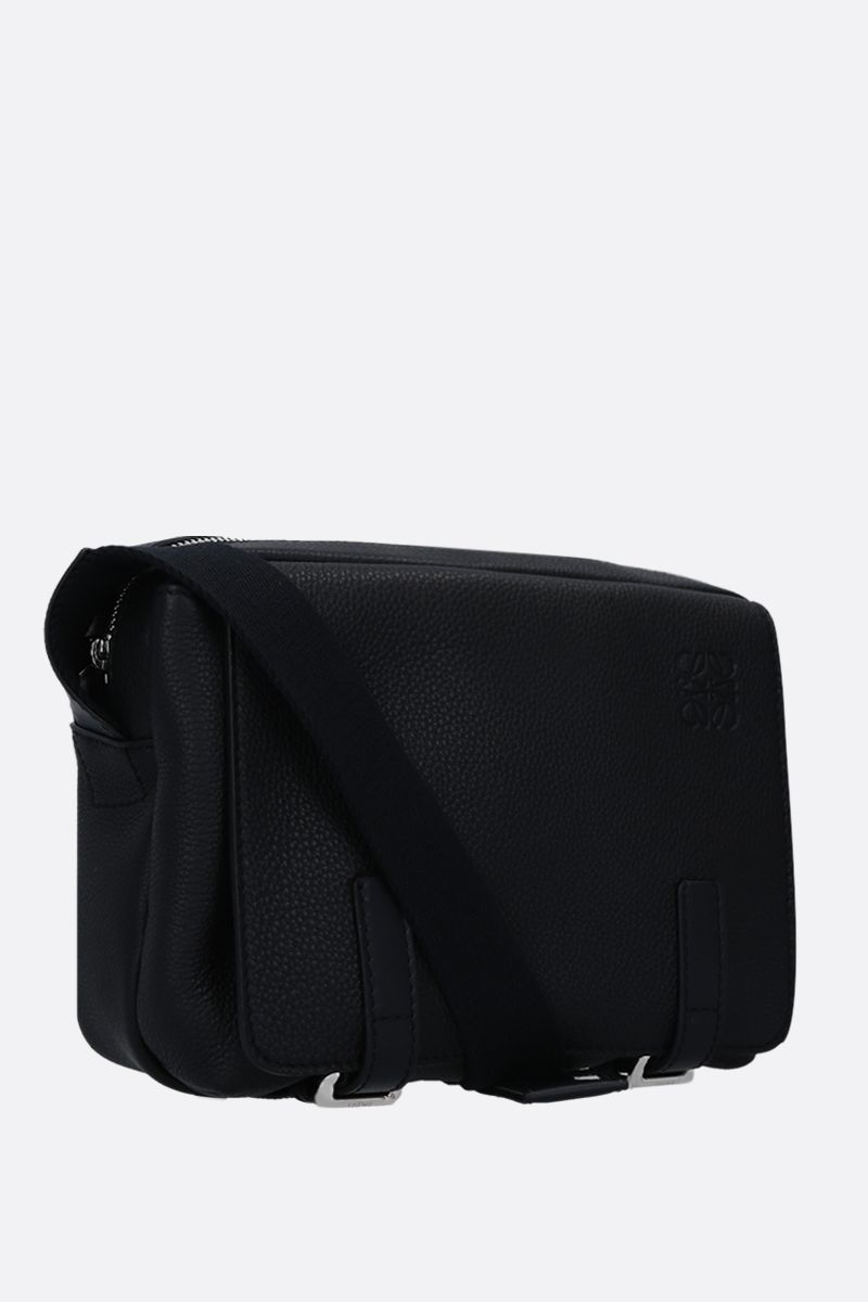 LOEWE: Military XS messenger bag in grainy leather Color Black_2