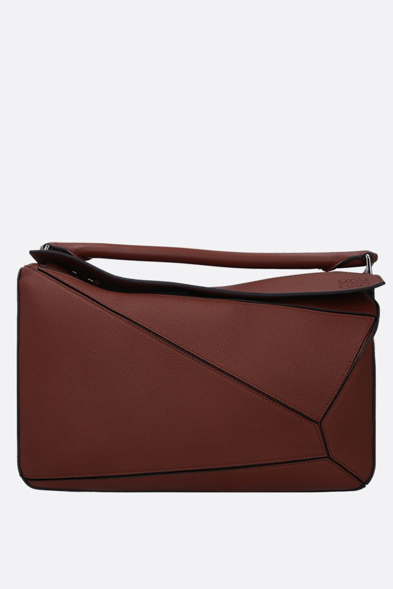 LOEWE: Puzzle large handbag in grainy leather Color Brown_1