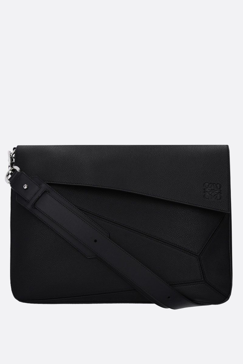 LOEWE: Puzzle messenger bag in grained leather Color Black_1