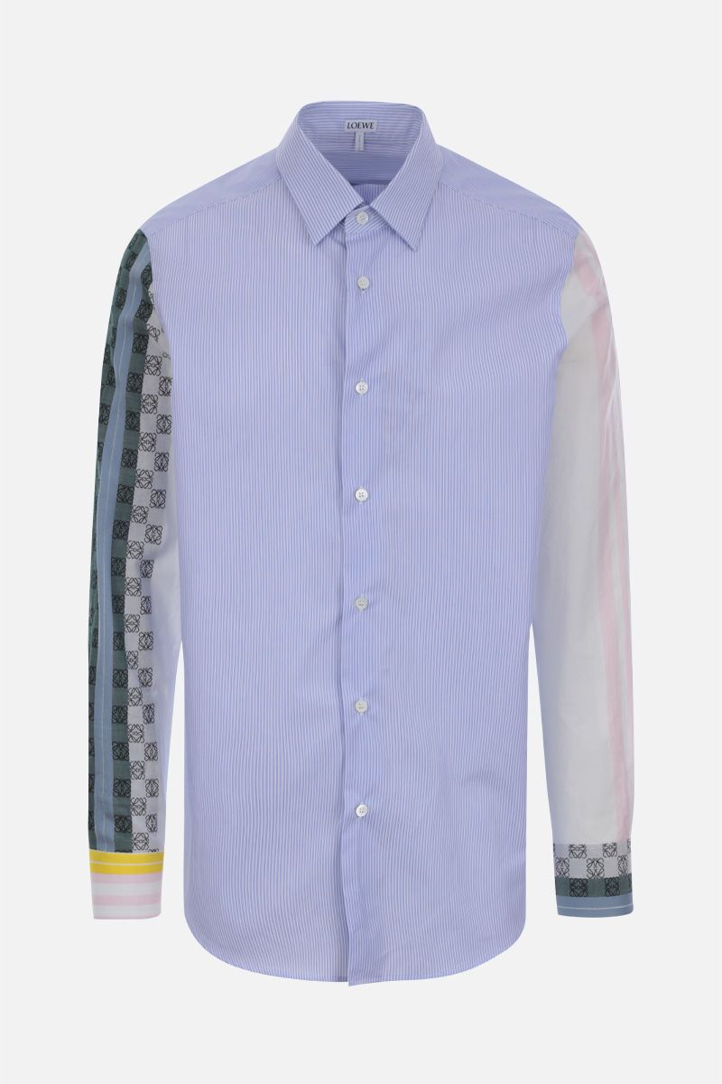 LOEWE: Anagram embroidery striped cotton shirt Color Multicolor_1