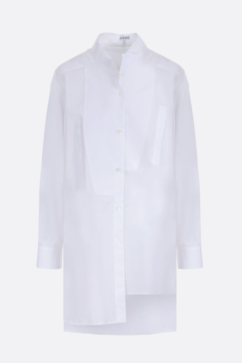 LOEWE: heart embroidered cotton asymmetric shirt Color White_1