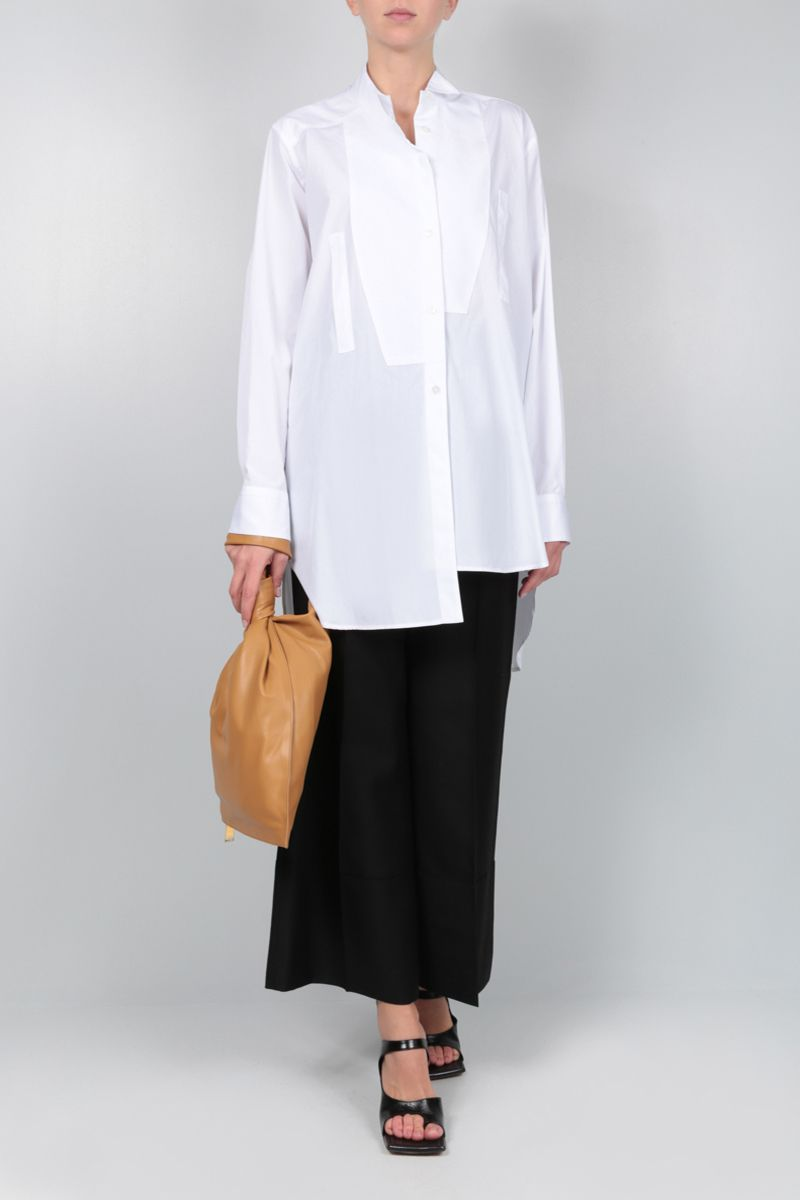 LOEWE: heart embroidered cotton asymmetric shirt Color White_2