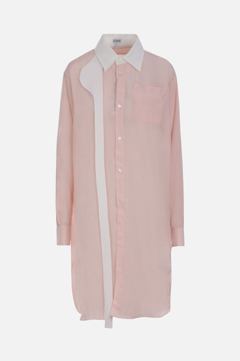 LOEWE: camicia long-fit in twill increspato Colore Rosa_1