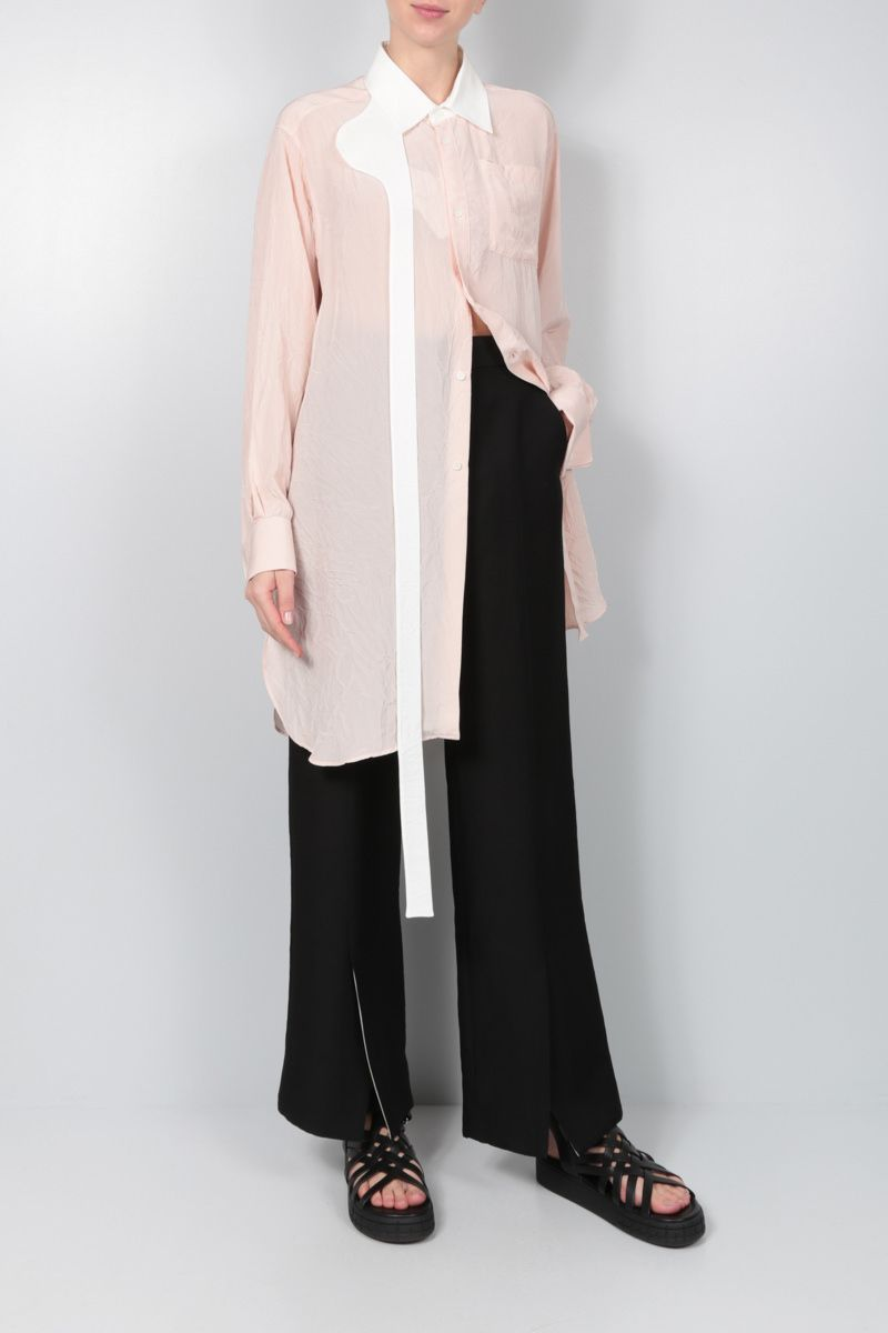 LOEWE: crinkled twill long-fit shirt Color Pink_2