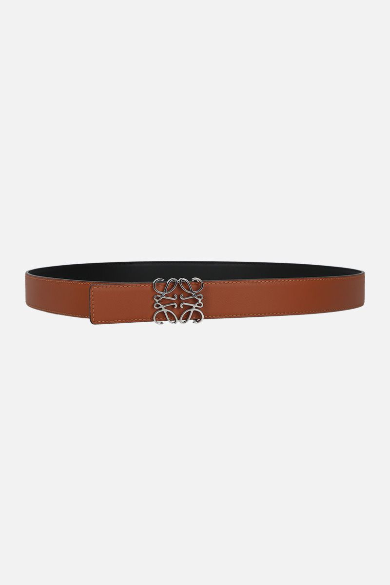 LOEWE: Anagram reversible belt in smooth leather Color Black_2