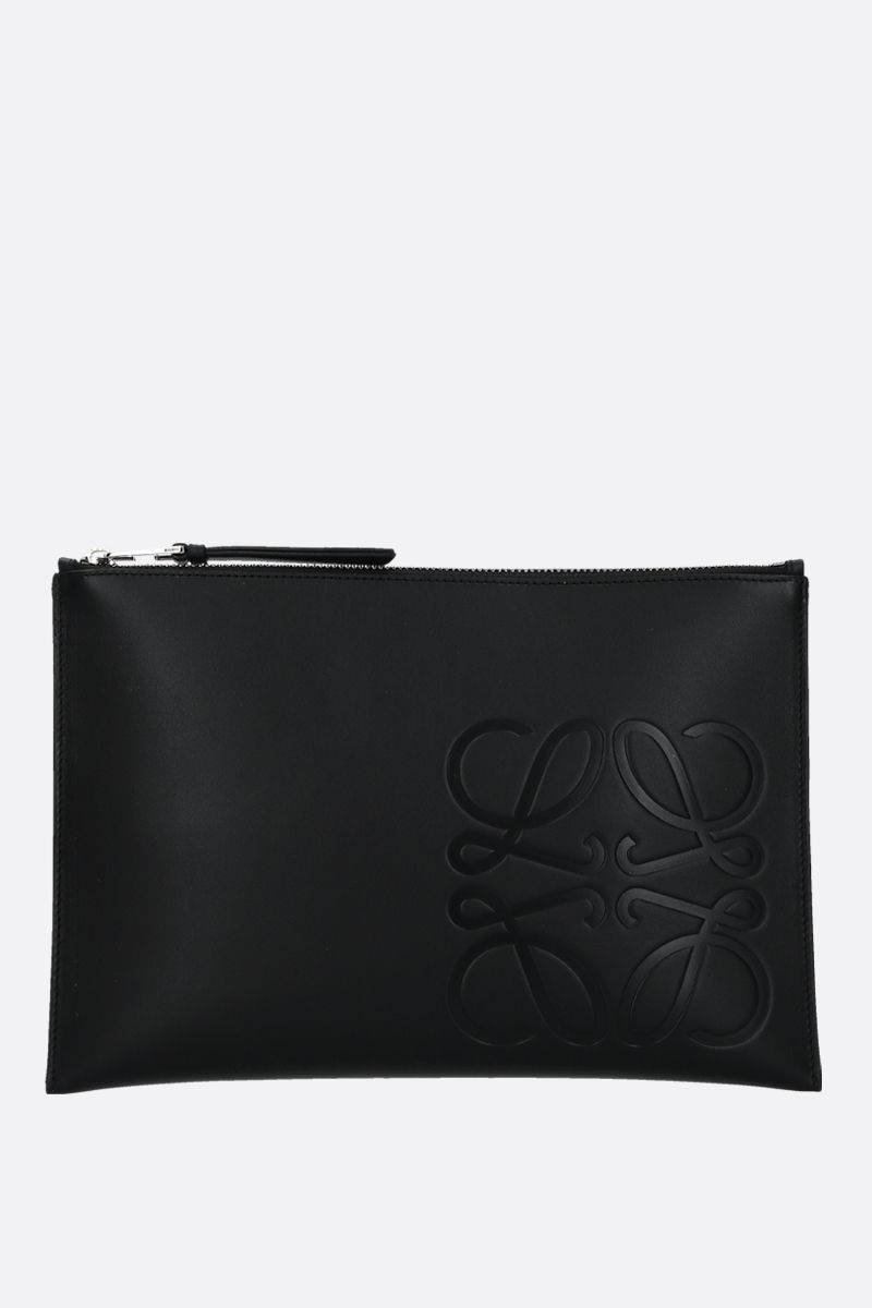 LOEWE: Anagram smooth leather pouch Color Black_1