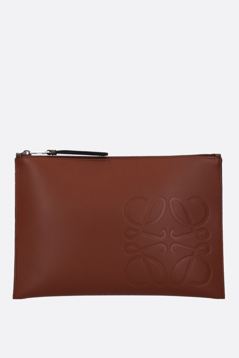LOEWE: Anagram smooth leather pouch Color Brown_1