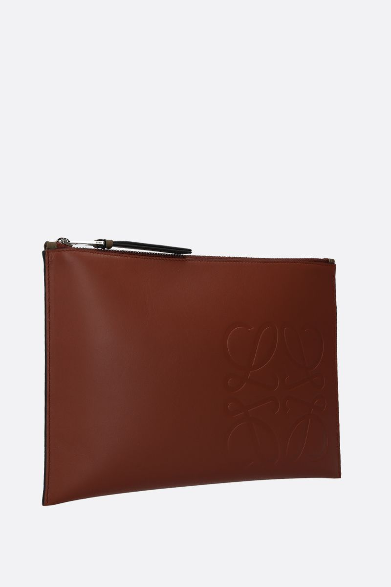LOEWE: Anagram smooth leather pouch Color Brown_2
