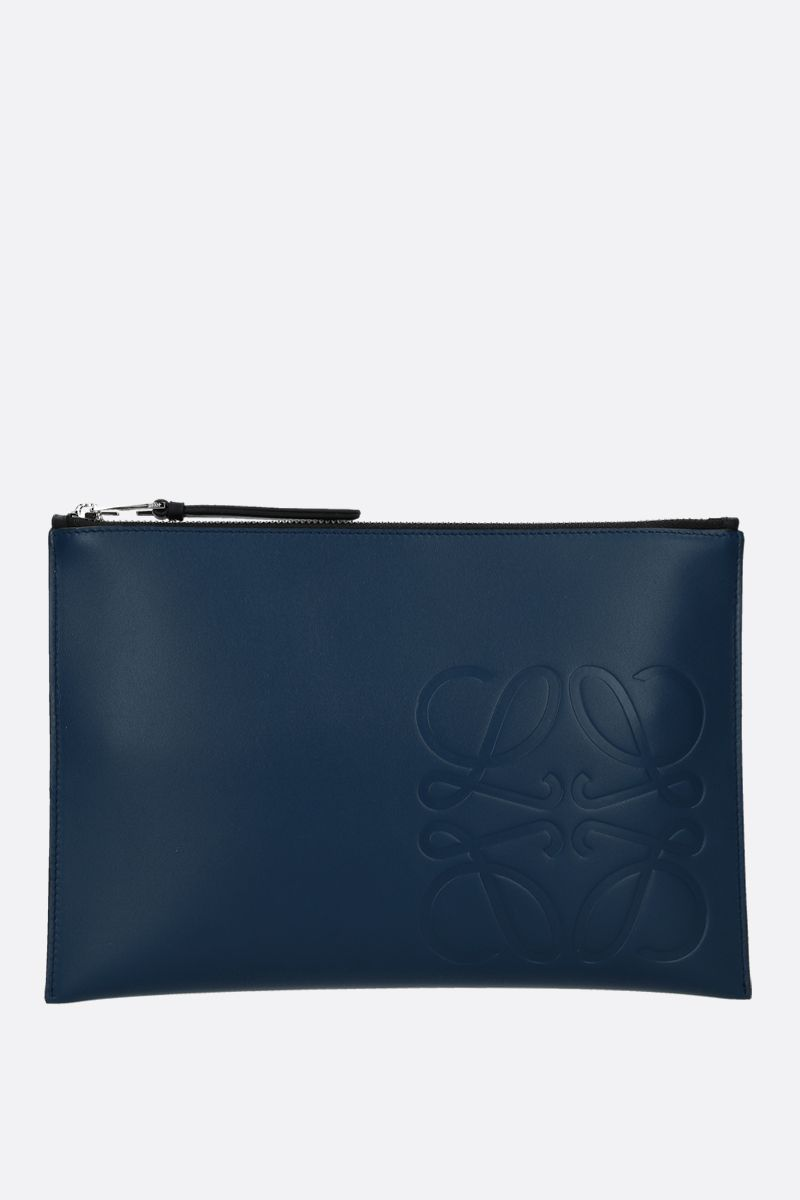 LOEWE: Anagram smooth leather pouch Color Blue_1
