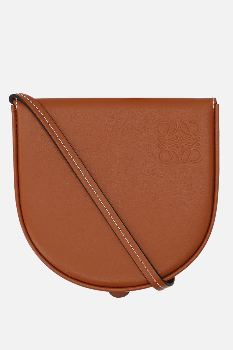 LOEWE: Heel small smooth leather strap pouch Color Brown_1