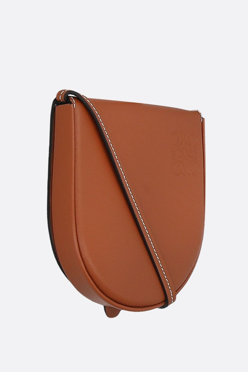 LOEWE: Heel small smooth leather strap pouch Color Brown_2