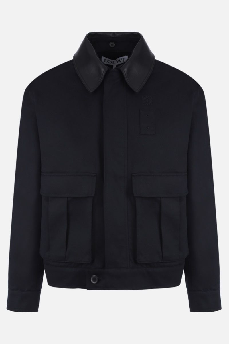 LOEWE: patch pocket-detailed cotton twill jacket Color Blue_1