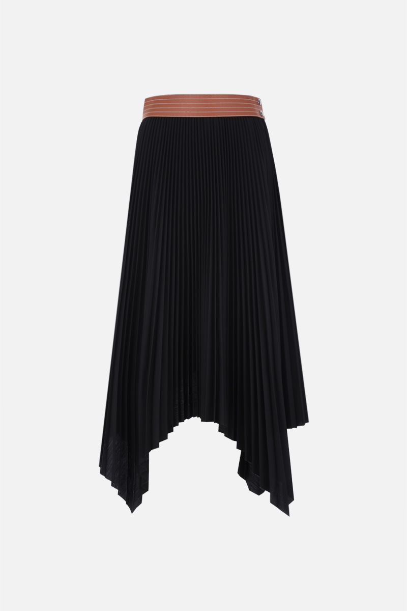 LOEWE: asymmetric pleated skirt in cotton blend Color Black_1