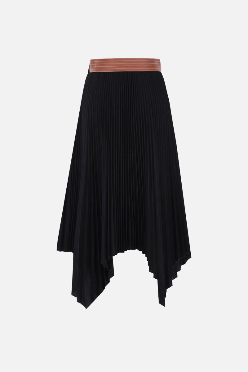 LOEWE: asymmetric pleated skirt in cotton blend Color Black_2