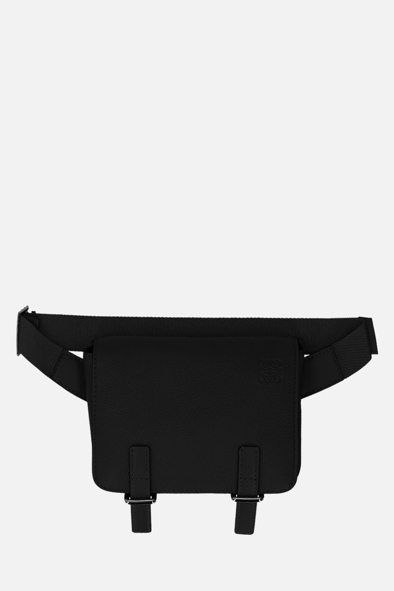 LOEWE: Military bumbag in grainy leather Color Black_1