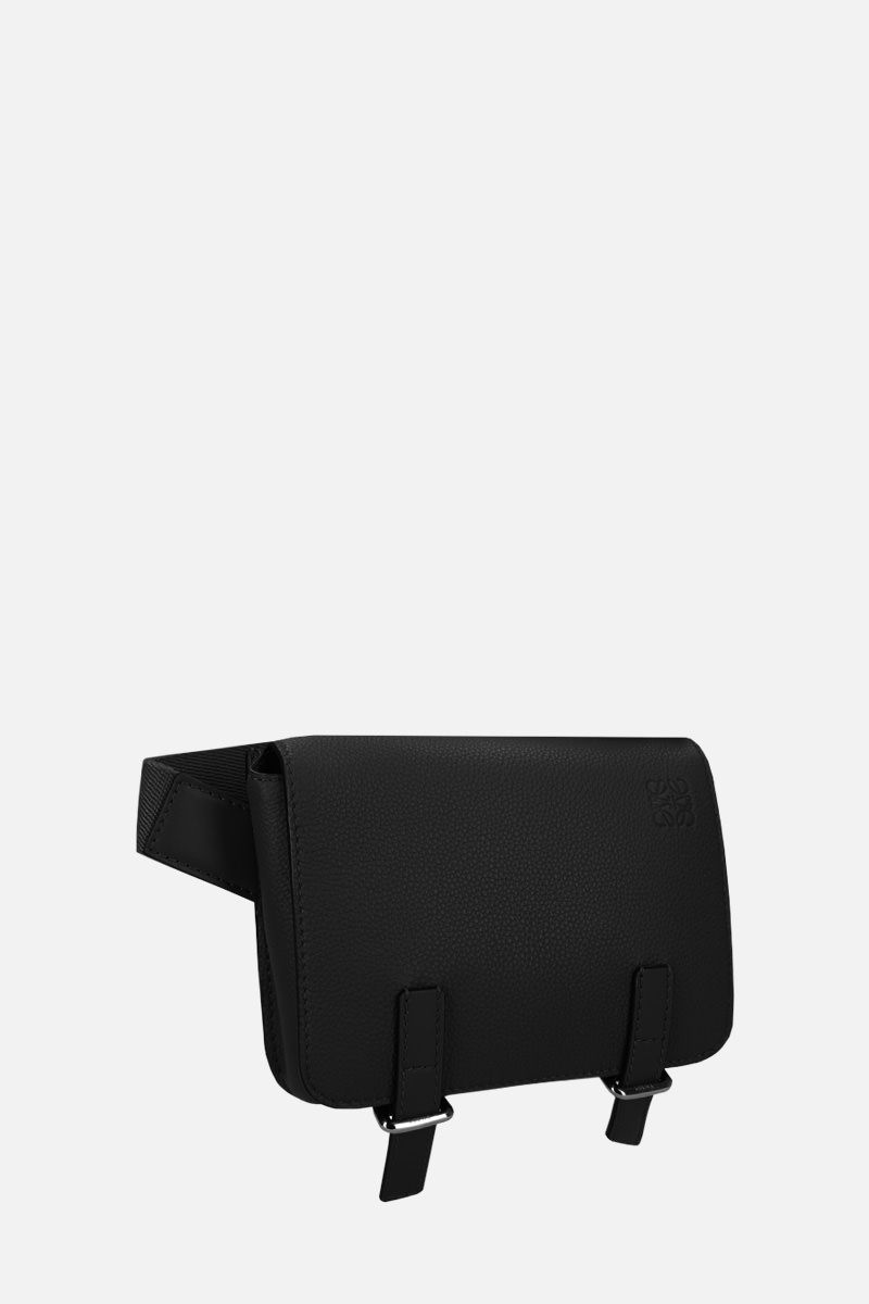 LOEWE: Military bumbag in grainy leather Color Black_2