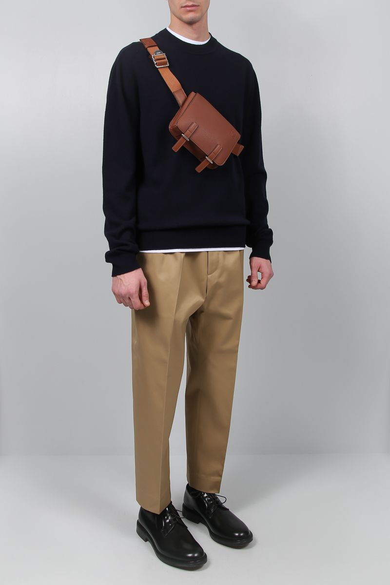 LOEWE: Military bumbag in grainy leather Color Brown_2