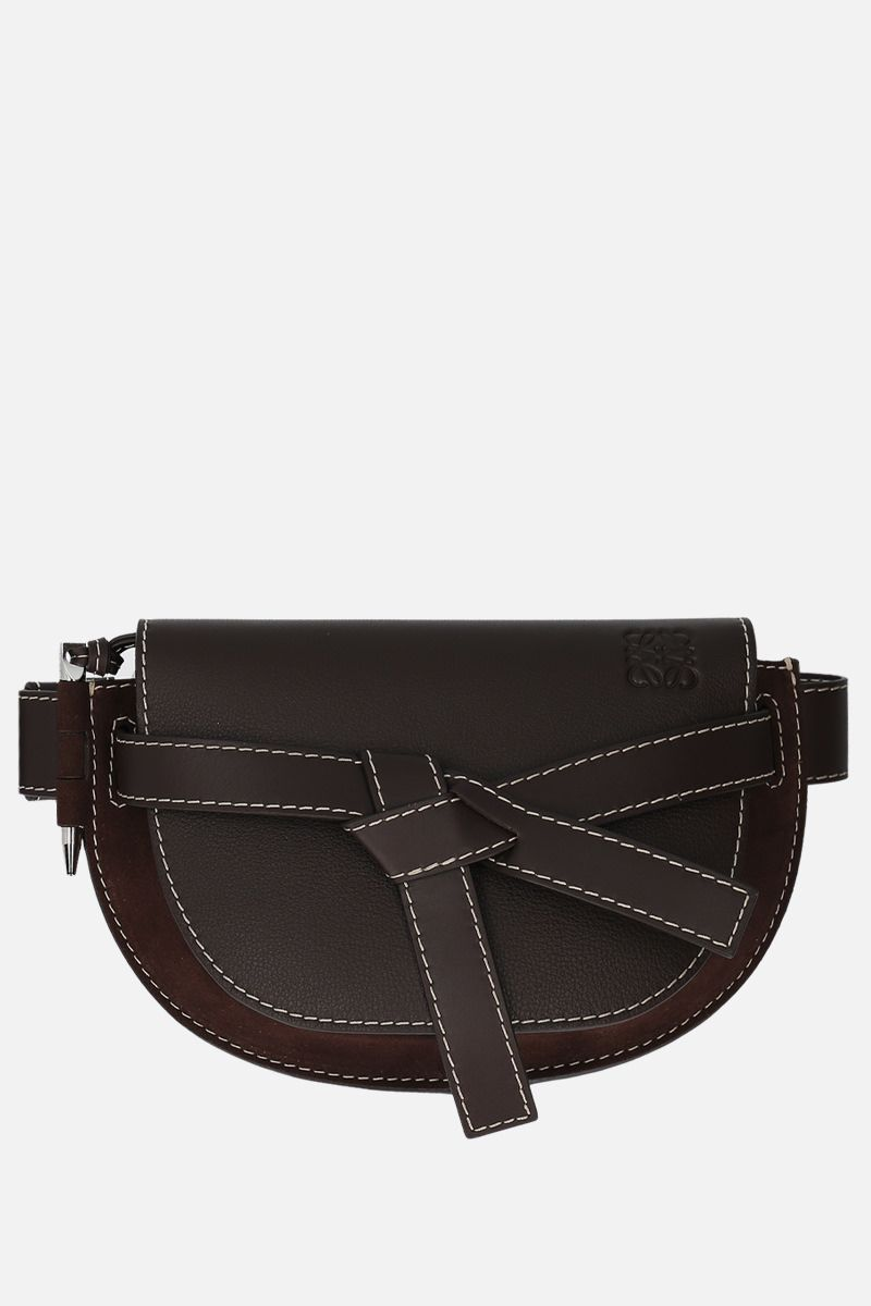 LOEWE: Gate large grainy leather and suede belt bag Color Brown_1