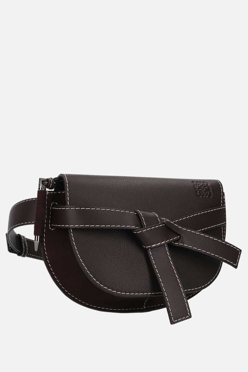 LOEWE: Gate large grainy leather and suede belt bag Color Brown_2