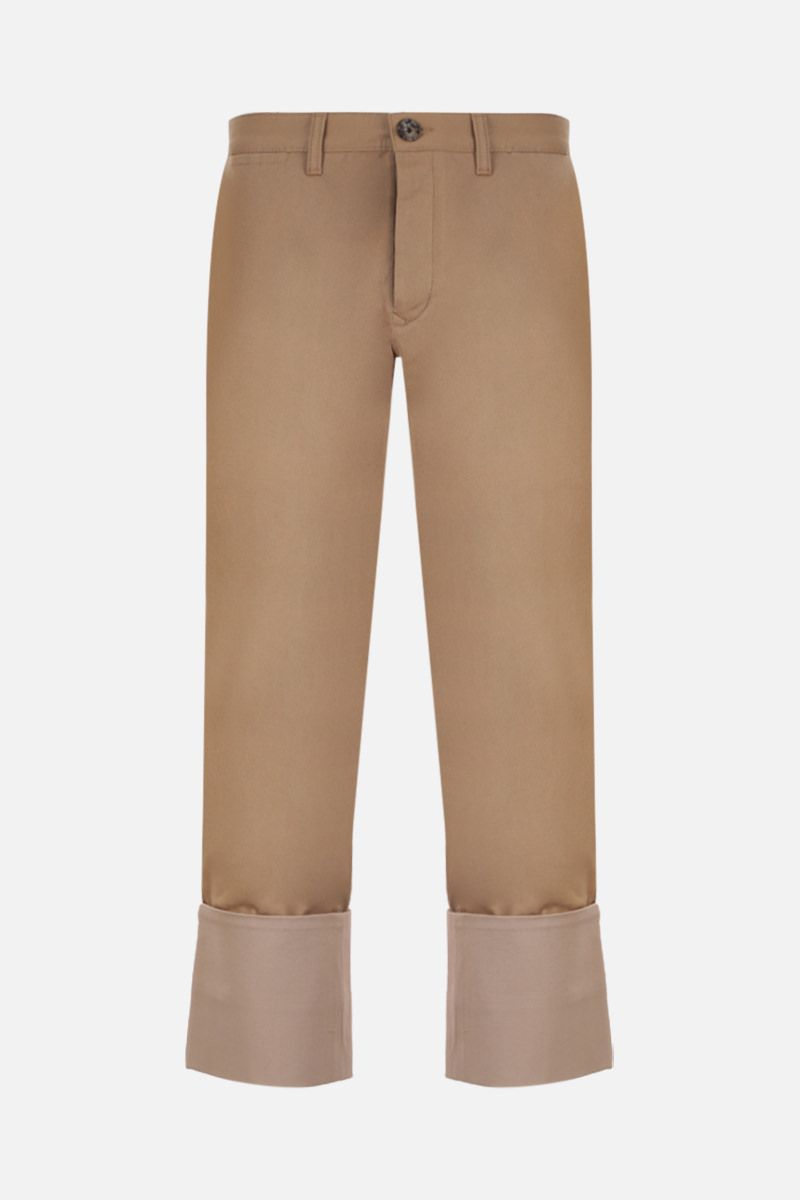 LOEWE: macro turn-up cotton drill chino pants Color Neutral_1