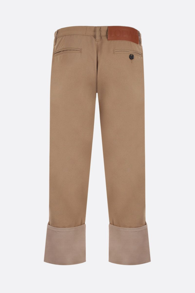 LOEWE: macro turn-up cotton drill chino pants Color Neutral_2