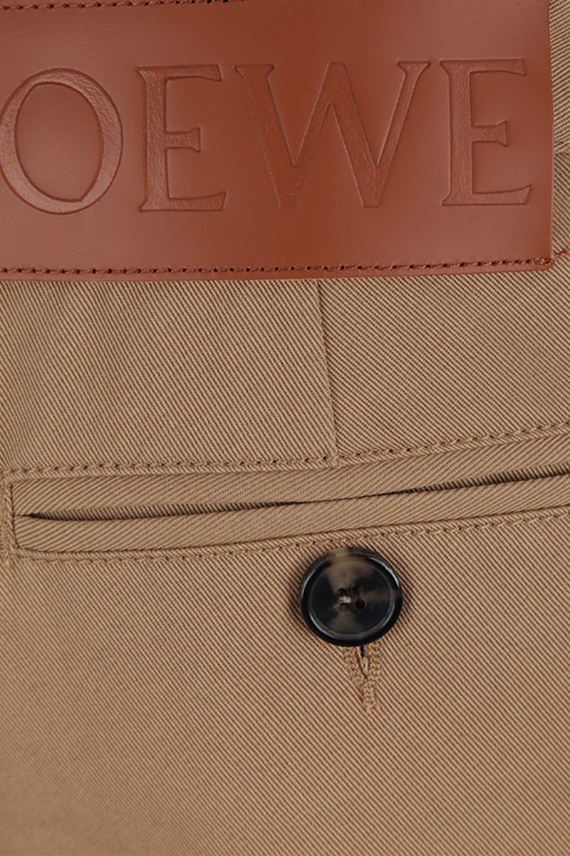 LOEWE: macro turn-up cotton drill chino pants Color Neutral_3