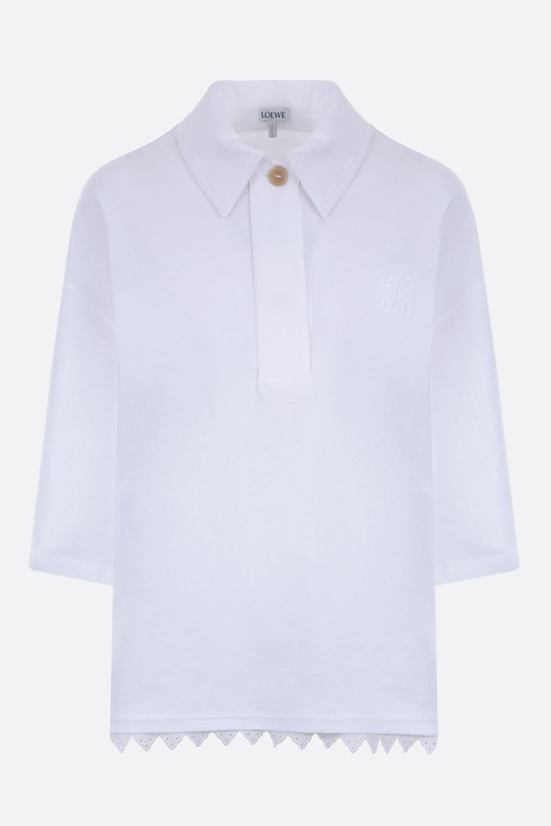 LOEWE: Anagram-detailed cotton jersey polo shirt Color White_1