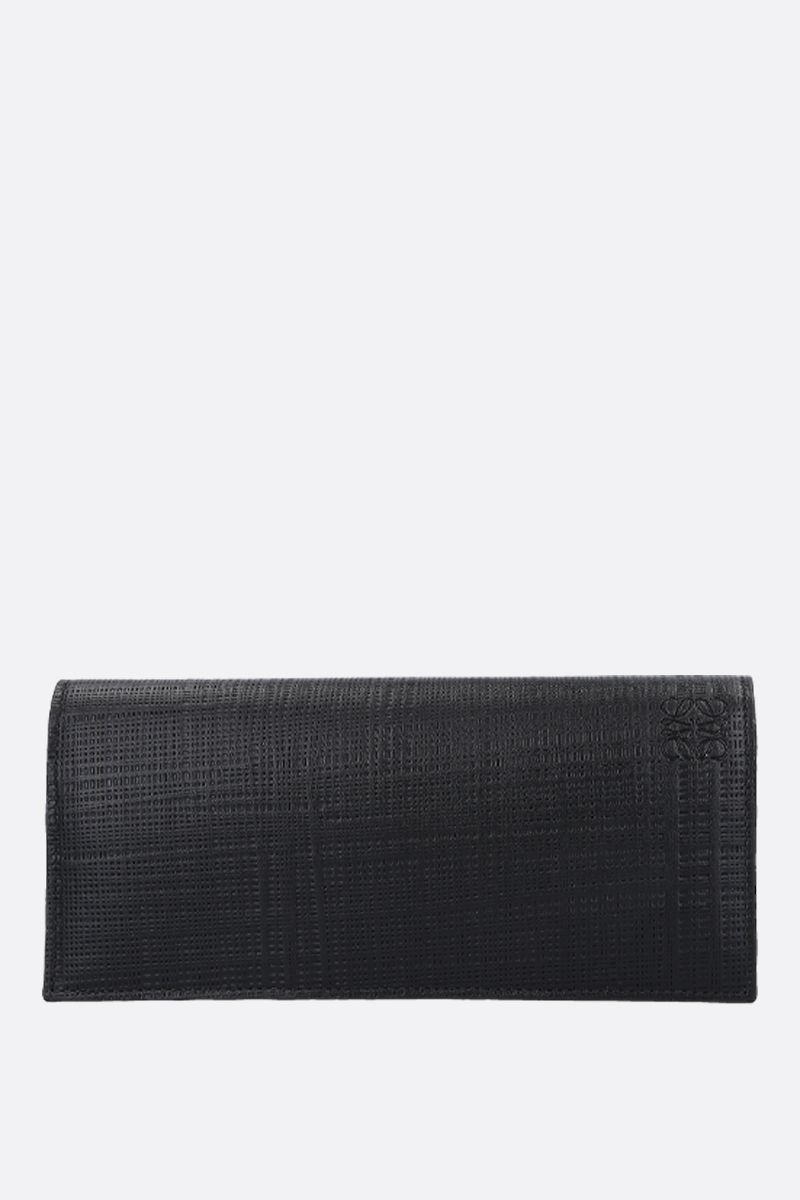 LOEWE: textured leather flap wallet Color Black_1