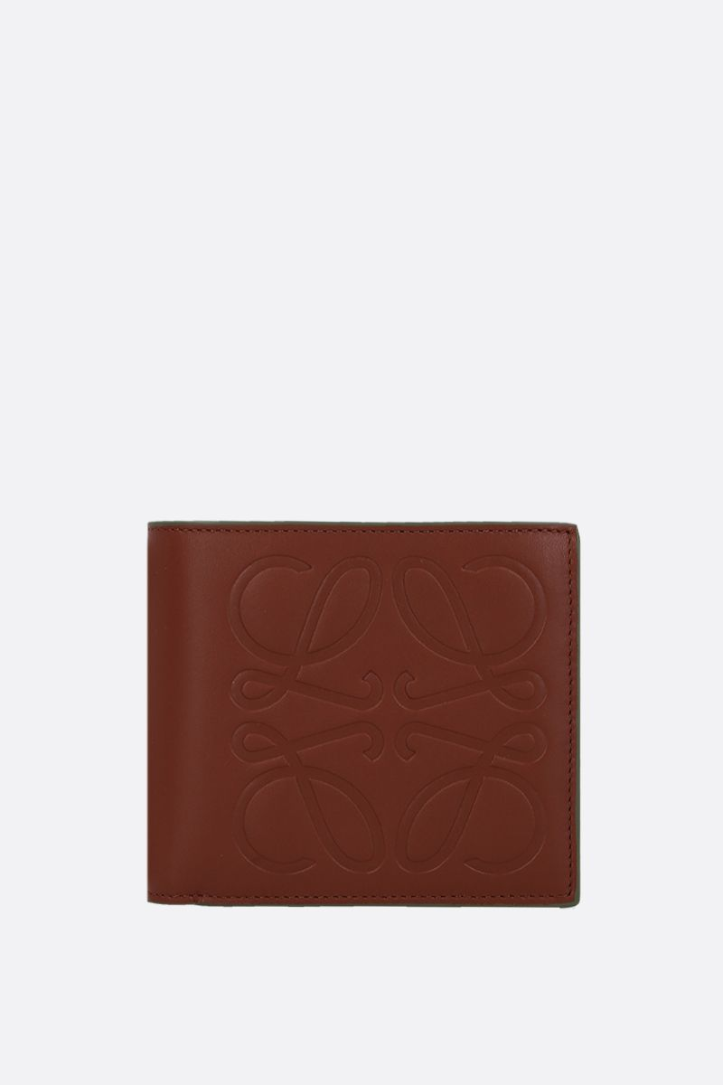 LOEWE: Anagram smooth leather billfold wallet Color Brown_1