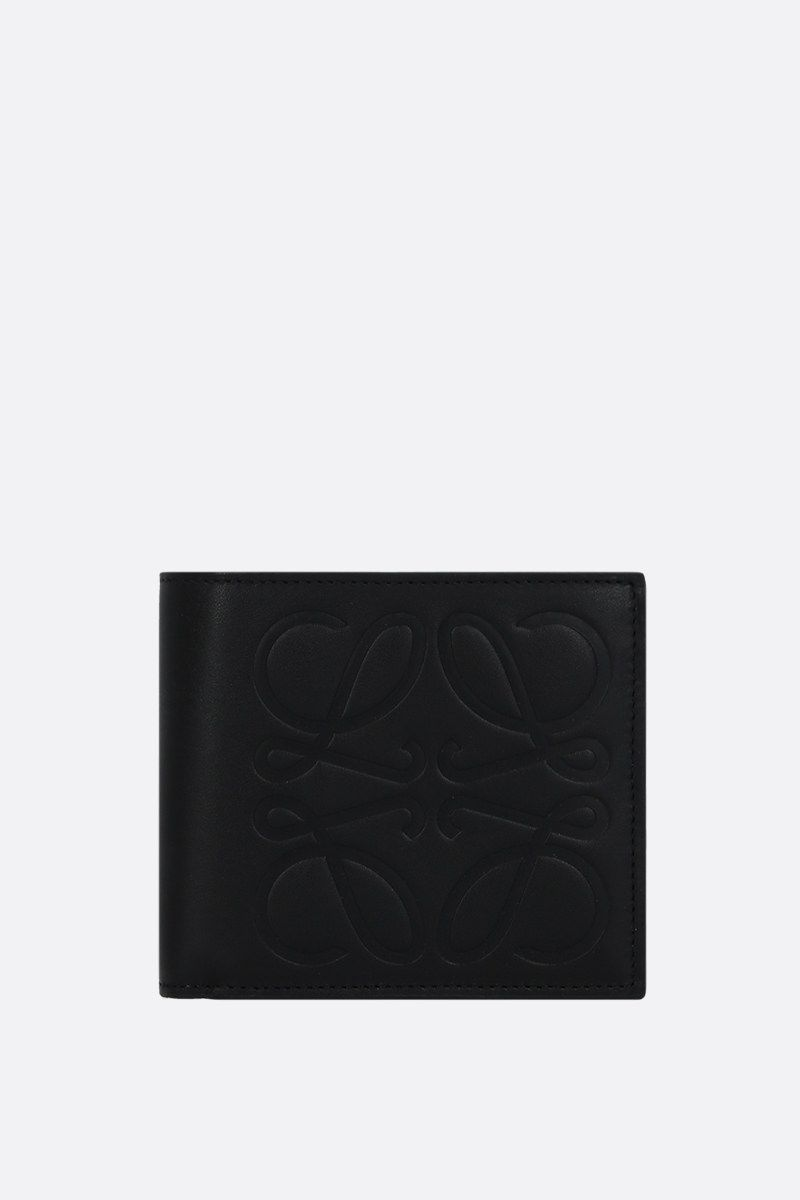 LOEWE: Anagram smooth leather billfold wallet Color Black_1