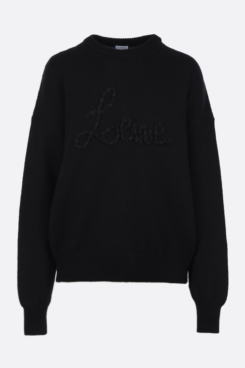 LOEWE: logo embroidered cotton pullover Color Black_1