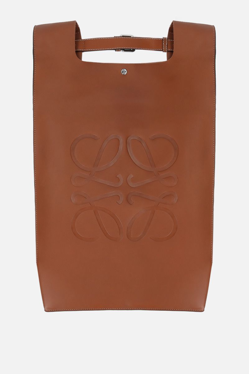 LOEWE: smooth leather shopper backpack Color Brown_1