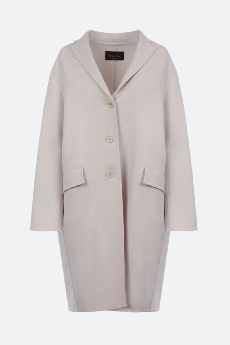 LORO PIANA: Chuck single-bhreasted cashmere coat Color White_1
