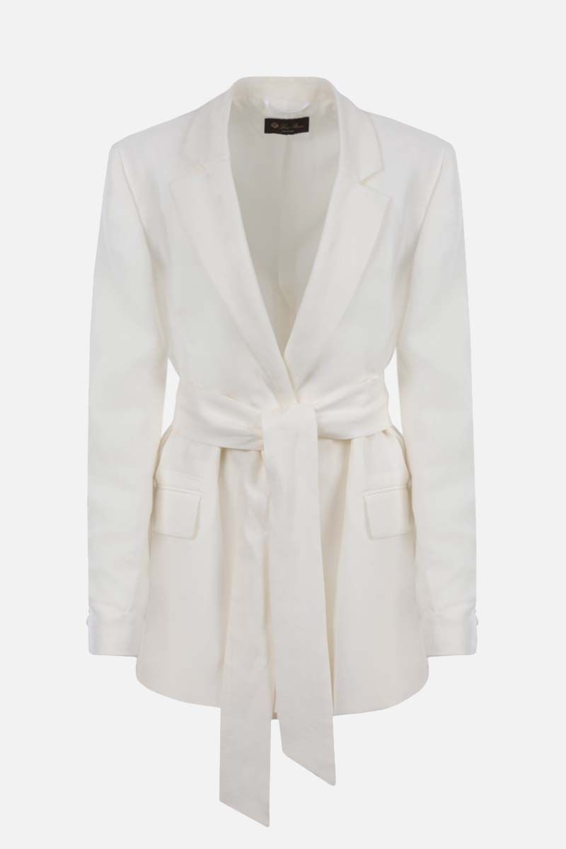 LORO PIANA: Clare Antigua wrap linen jacket Color White_1