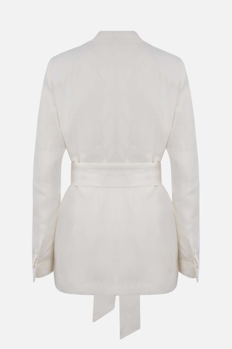 LORO PIANA: Clare Antigua wrap linen jacket Color White_2