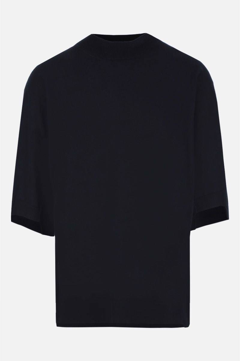 MAISON FLANEUR: oversized short-sleeve pullover in cotton cashmere blend Color Blue_1