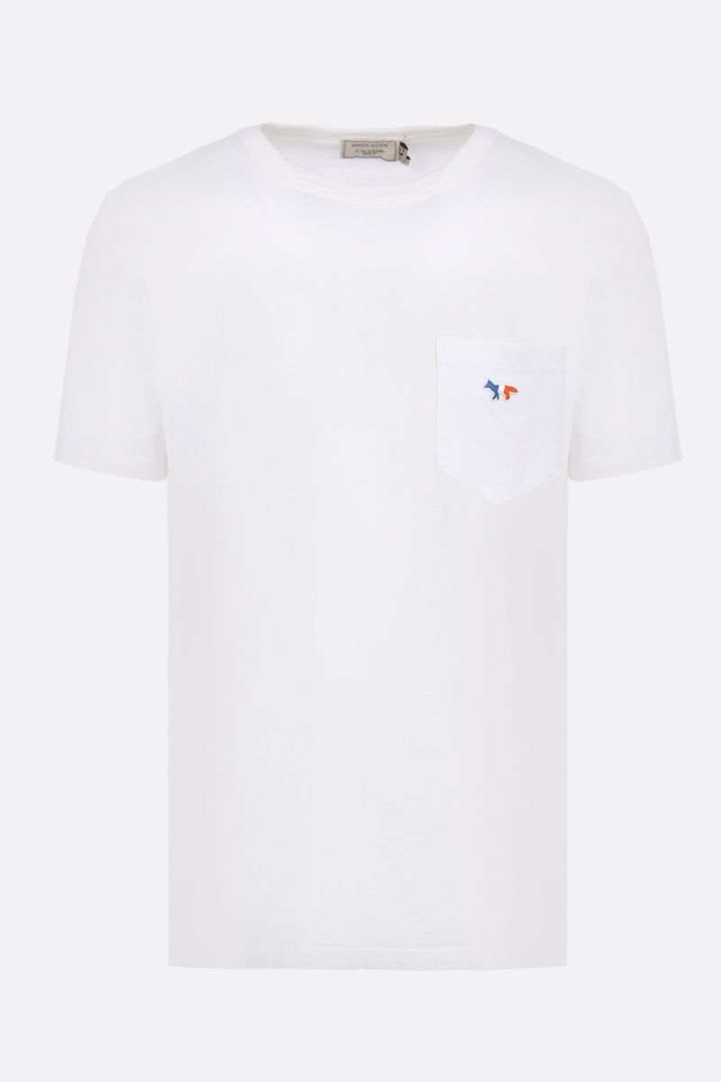 MAISON KITSUNÈ: t-shirt in jersey patch Tricolor Fox Colore Bianco_1