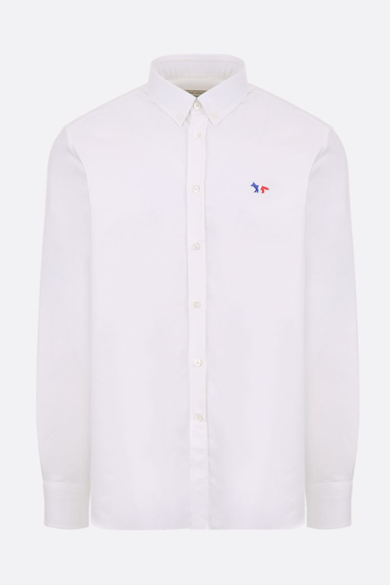 MAISON KITSUNÈ: Tricolor Fox patch cotton oxford shirt Color White_1