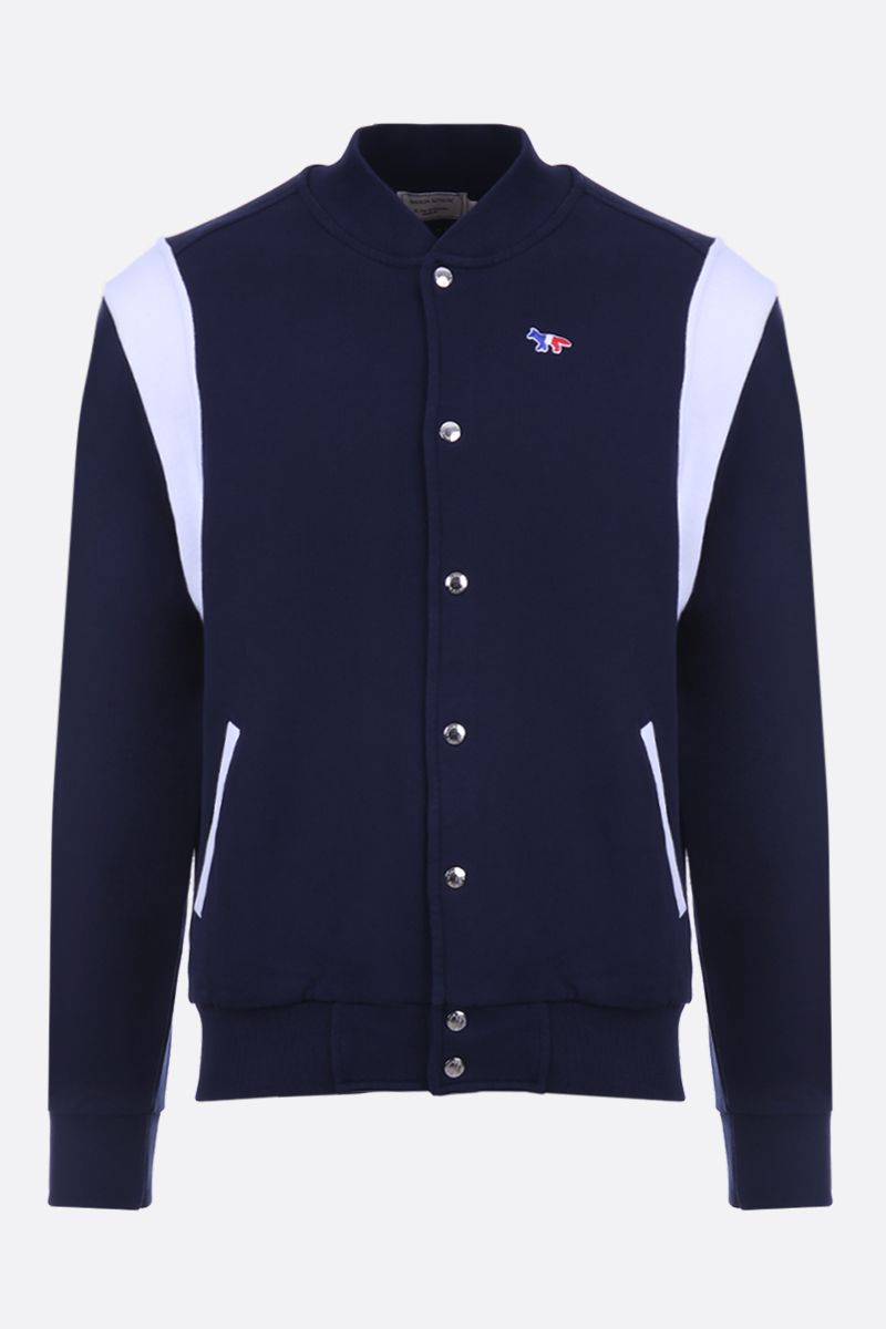 MAISON KITSUNÈ: Tricolor Fox patch jersey bomber jacket Color Blue_1