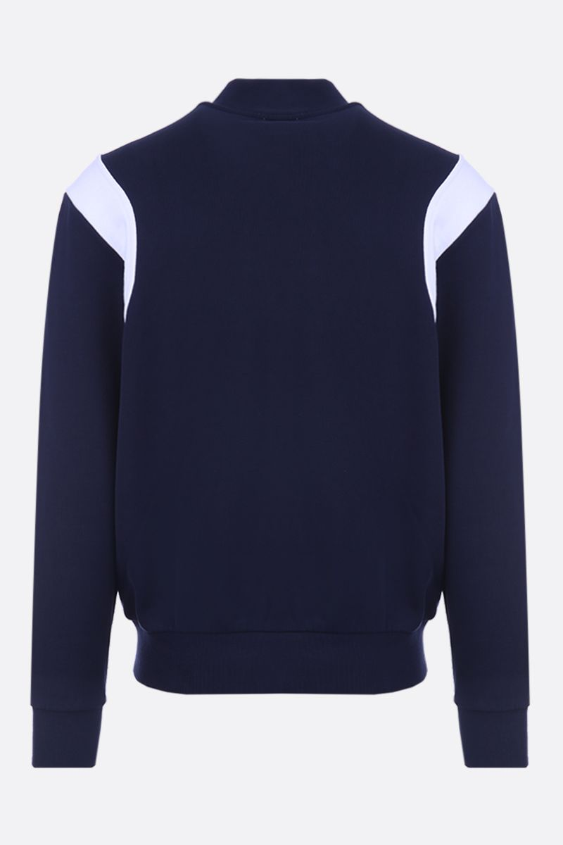 MAISON KITSUNÈ: Tricolor Fox patch jersey bomber jacket Color Blue_2