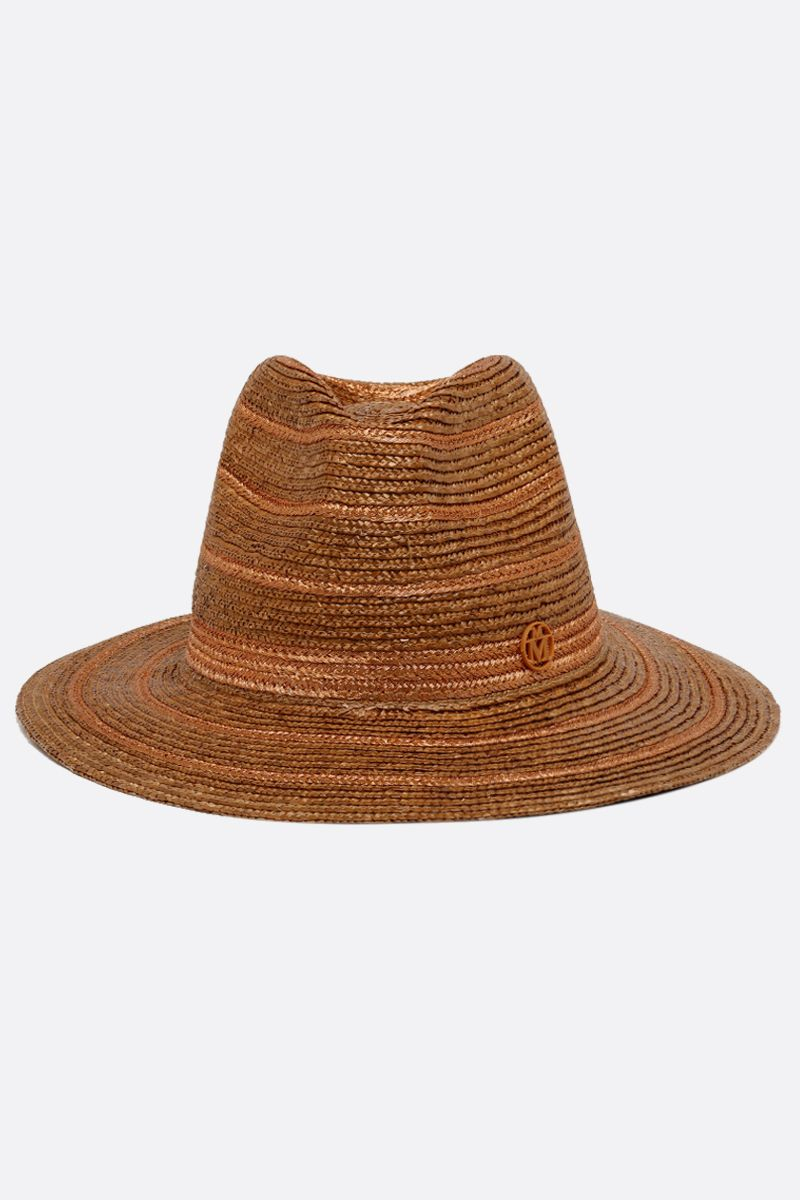 MAISON MICHEL: Rico roped straw fedora Color Neutral_1