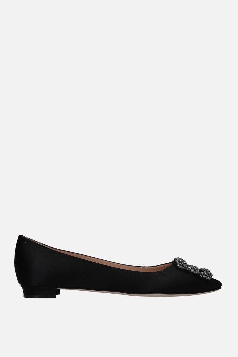 MANOLO BLAHNIK: Hangisi satin ballerinas Color Black_1