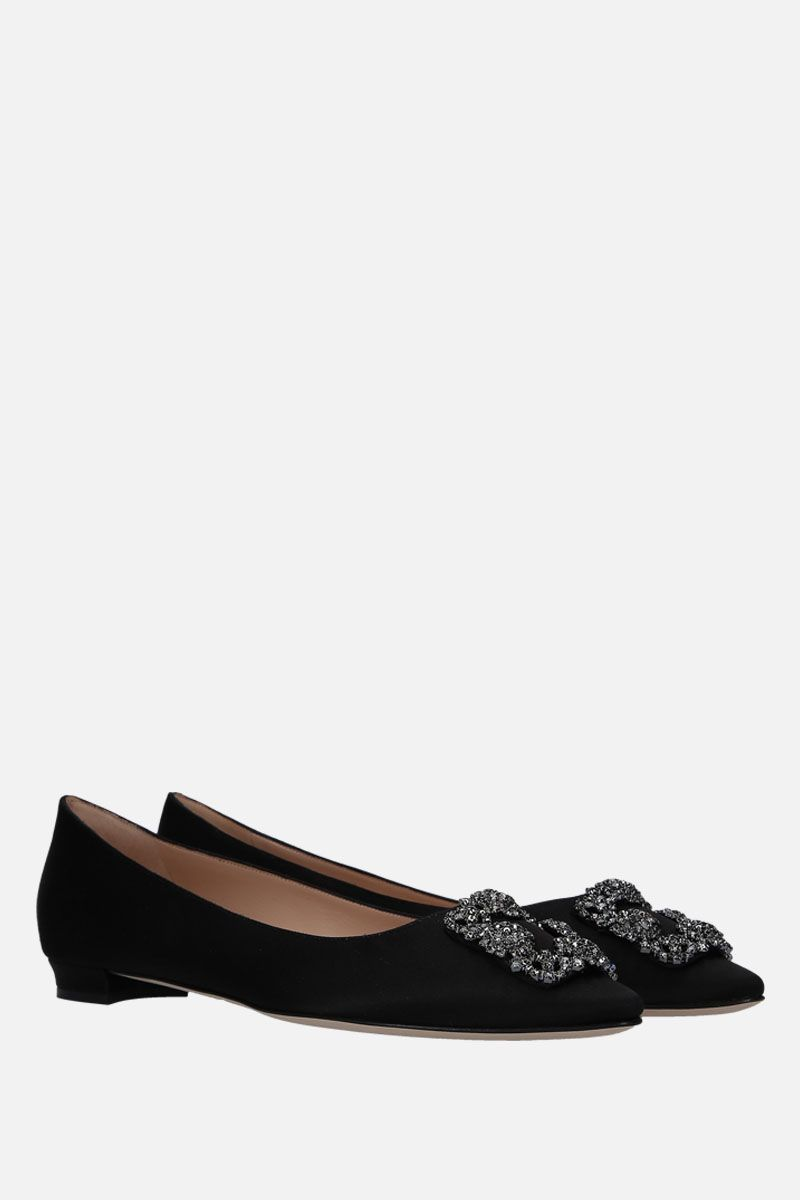 MANOLO BLAHNIK: Hangisi satin ballerinas Color Black_2