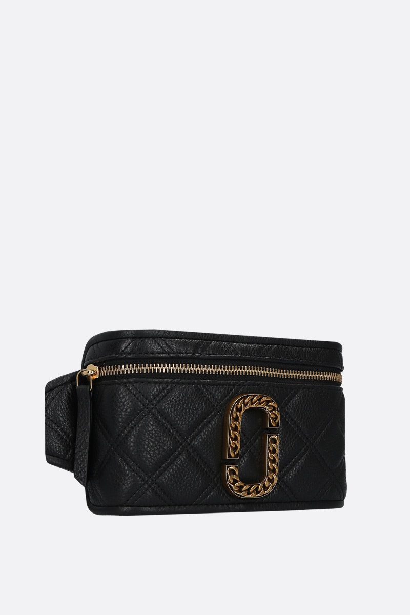 MARC JACOBS: The Status belt bag in quilted leather Color Black_2