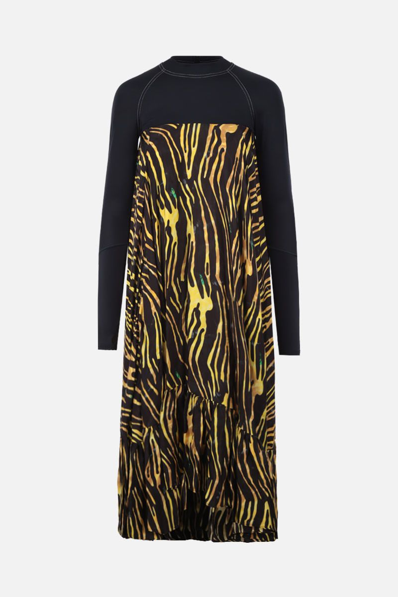 MARINE SERRE: jersey and crepe midi dress Color Black_1