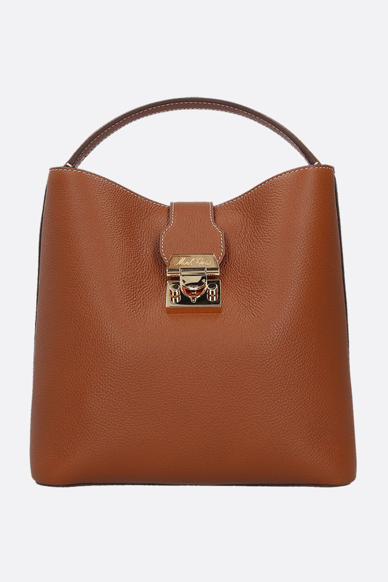 MARK CROSS: Murphy large grainy leather top handle bag Color Neutral_1