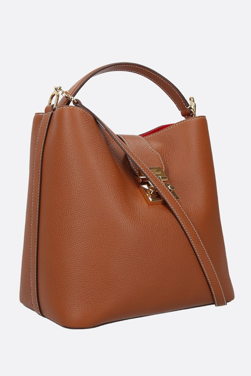 MARK CROSS: Murphy large grainy leather top handle bag Color Neutral_2