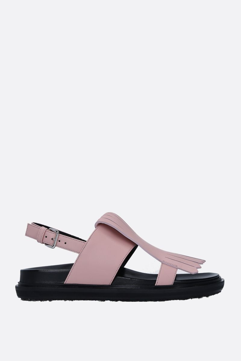 MARNI: Fussbett flat sandals in smooth leather Color Pink_1