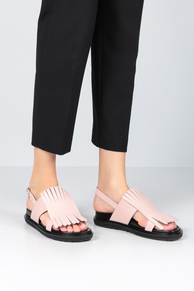 MARNI: Fussbett flat sandals in smooth leather Color Pink_2