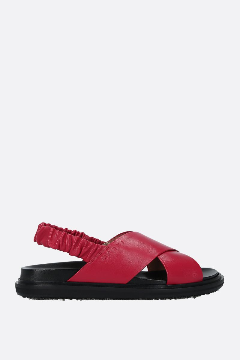 MARNI: Fussbett soft nappa leather flat sandals Color Red_1